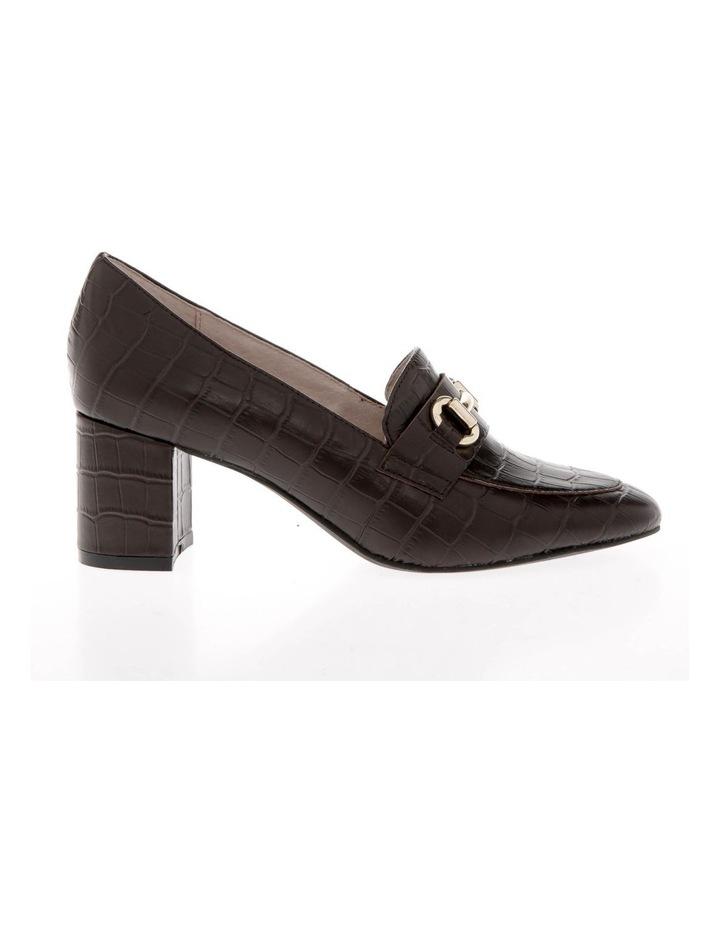 Gretel Brown Croc Print Cow Leather Heeled Shoe image 1