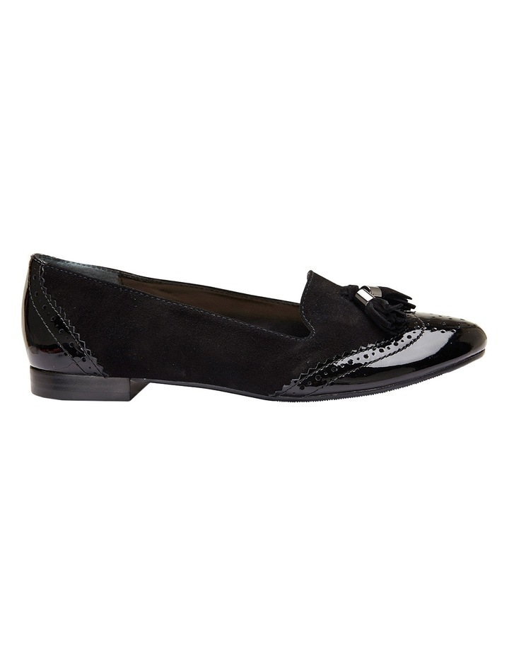 Trudy Black Patent/Suede Flat Shoes image 1