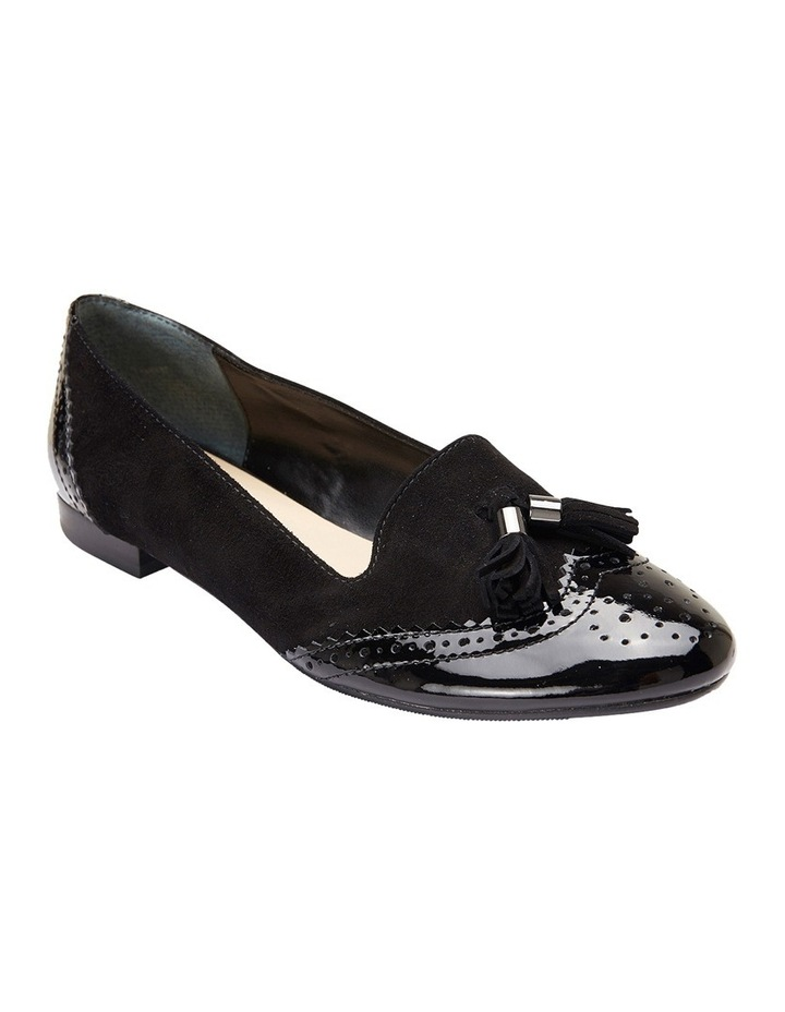 Trudy Black Patent/Suede Flat Shoes image 2