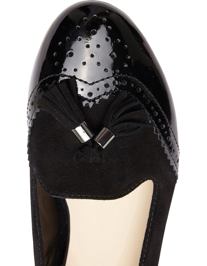 Trudy Black Patent/Suede Flat Shoes image 4