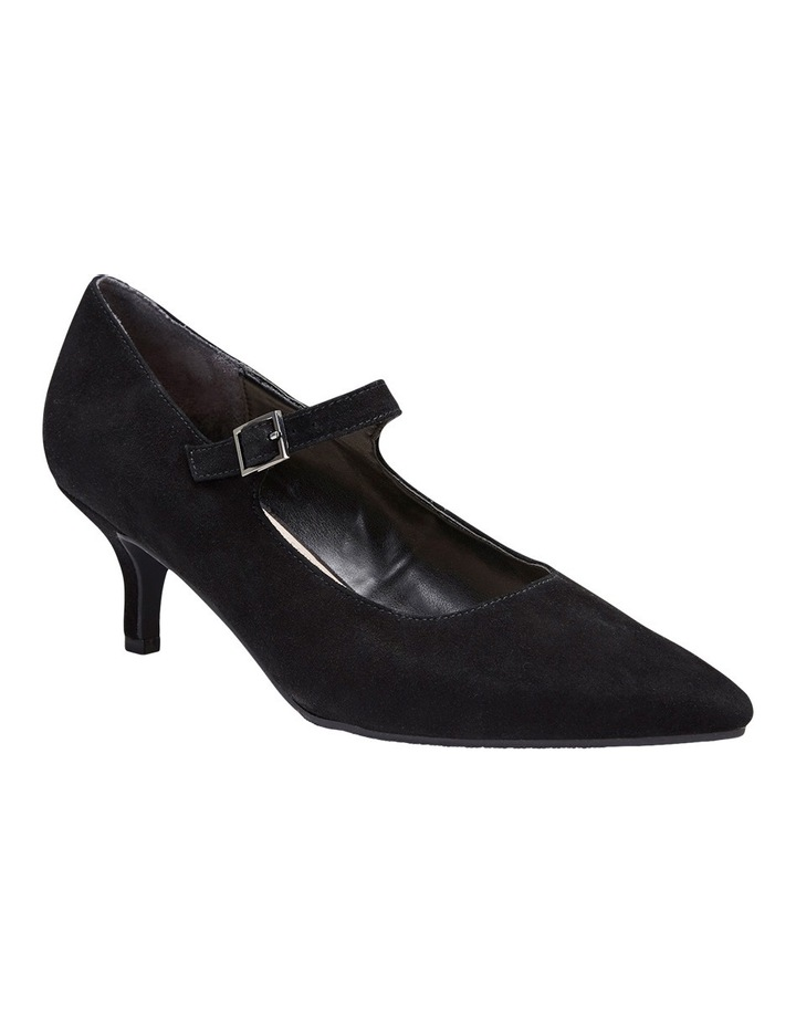 Neon Black Suede Heeled Shoes image 2