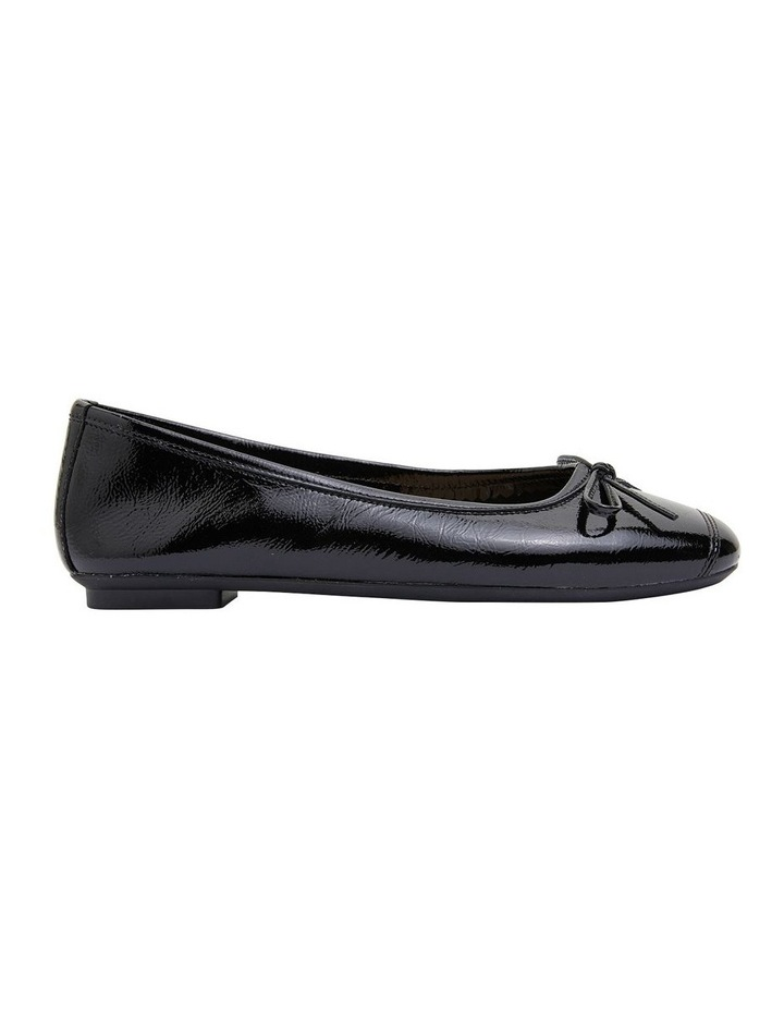 Alexa Black Crinkle Patent Flat Shoes image 1
