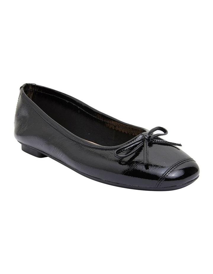 Alexa Black Crinkle Patent Flat Shoes image 2