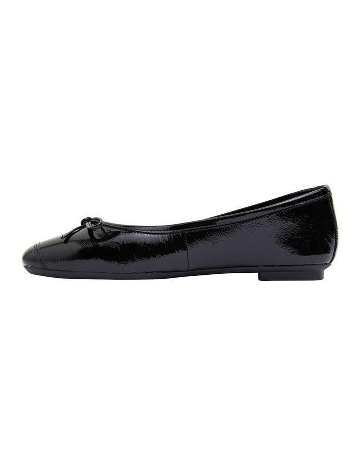 Alexa Black Crinkle Patent Flat Shoes image 3
