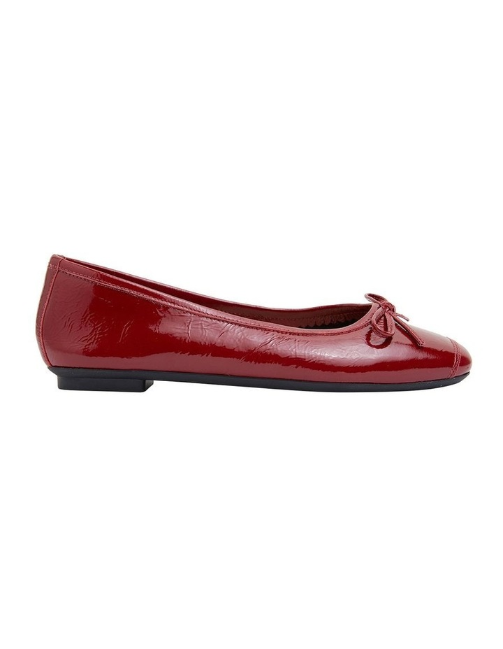 Alexa Ruby Red Crinkle Patent Flat Shoes image 1