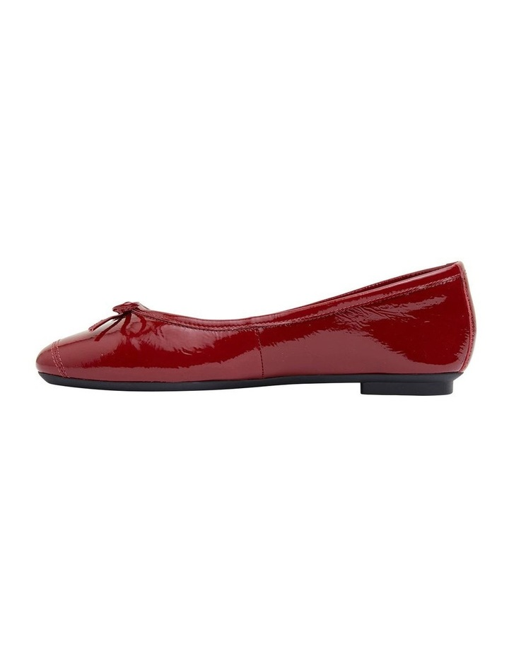 Alexa Ruby Red Crinkle Patent Flat Shoes image 3