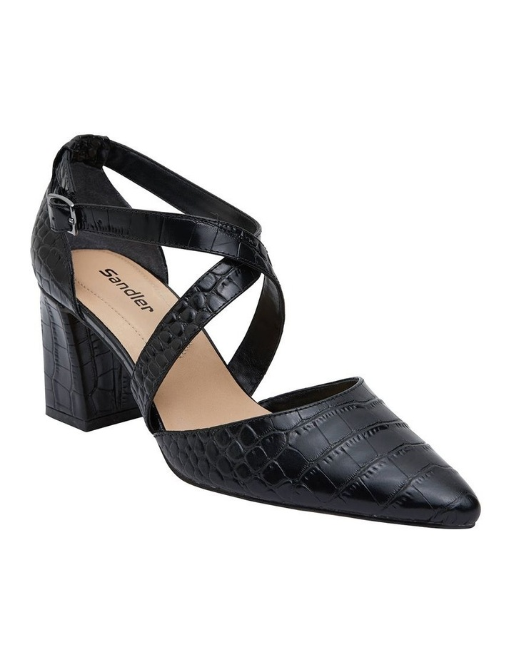 Kara Black Croc Heeled Shoes image 2