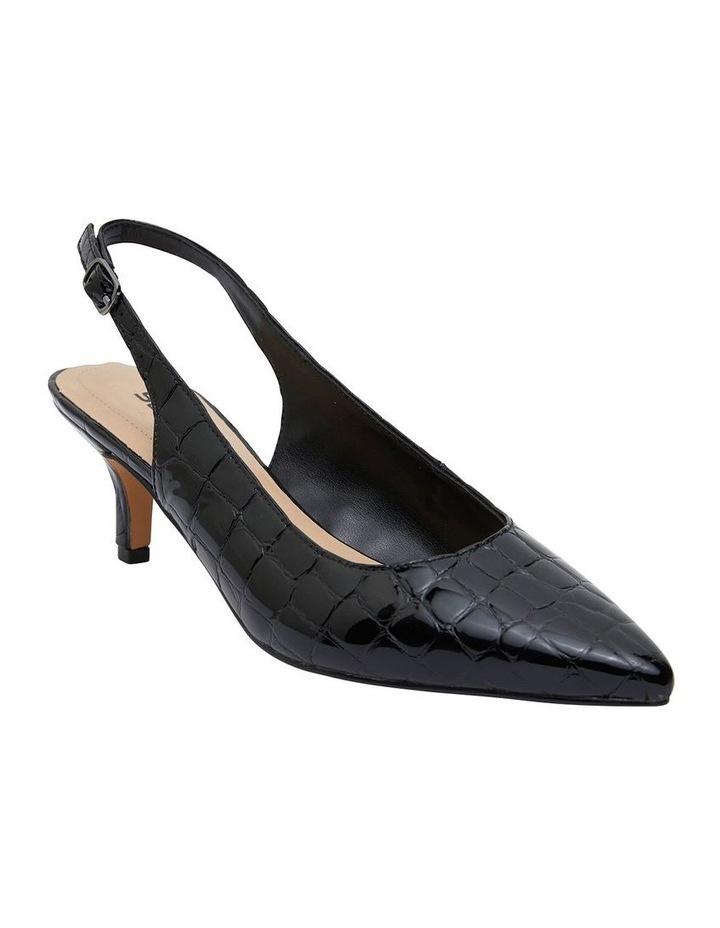 Nina Black Patent Croc Heeled Shoes image 2