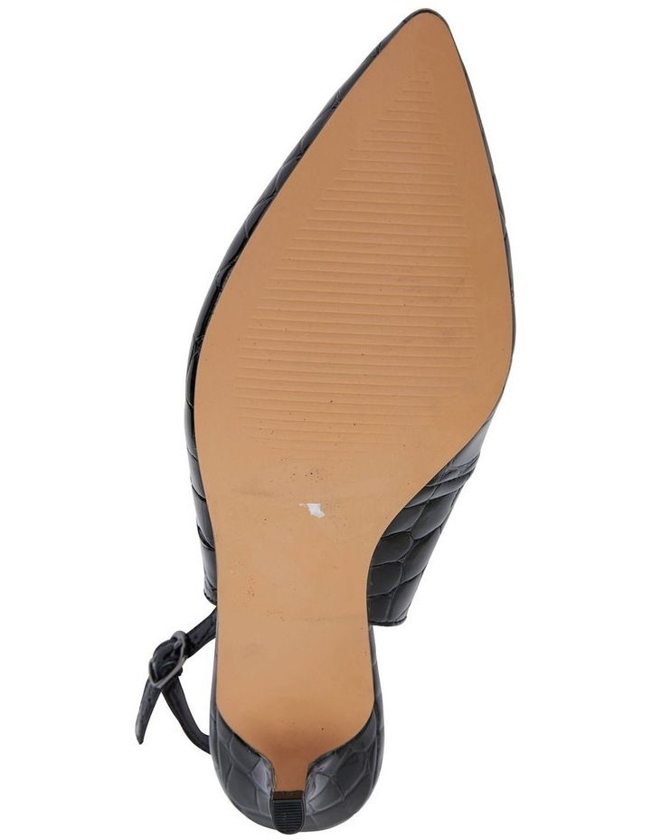 Nina Black Patent Croc Heeled Shoes image 7