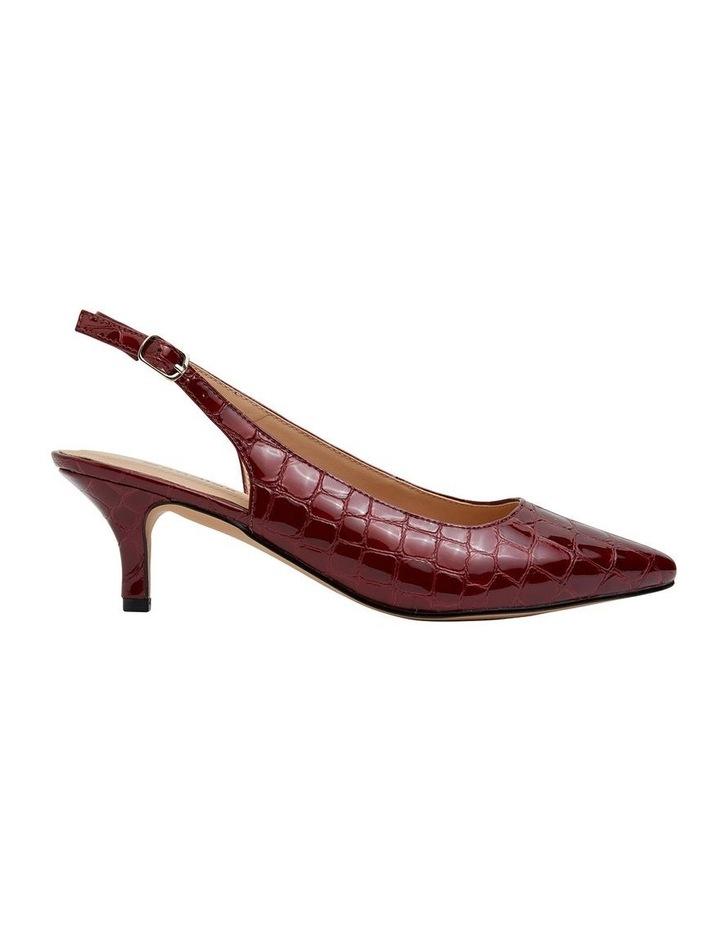 Nina Burgundy Patent Croc Heeled Shoes image 1