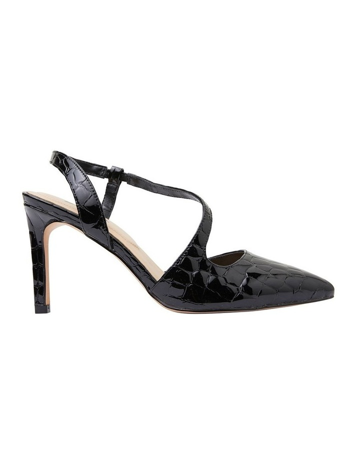 Odessa Black Patent Croc Heeled Shoes image 1