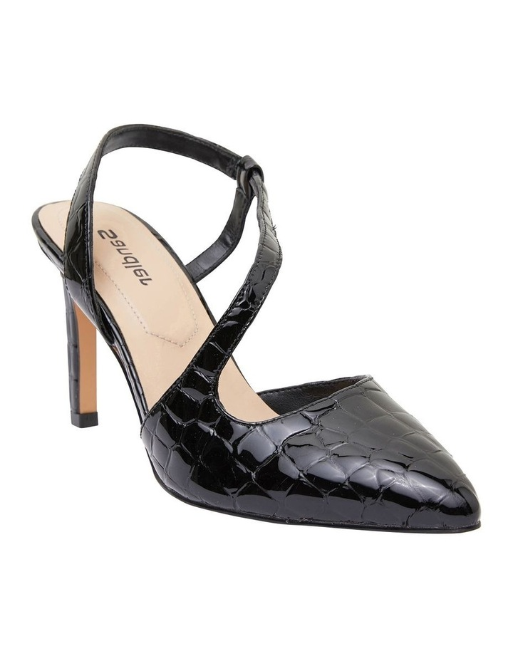 Odessa Black Patent Croc Heeled Shoes image 2