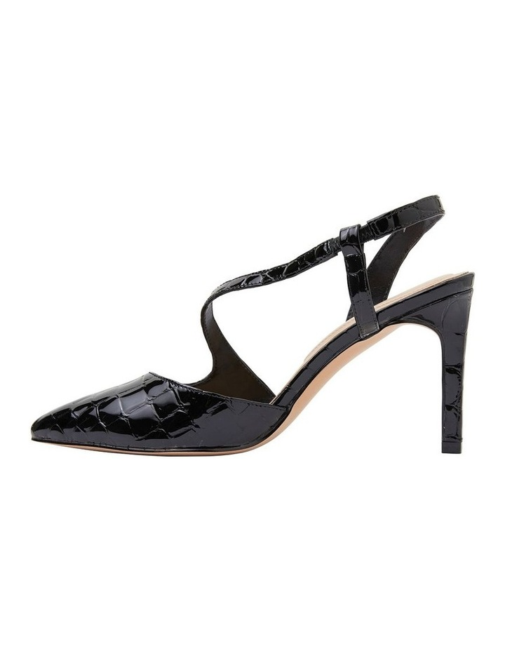 Odessa Black Patent Croc Heeled Shoes image 3
