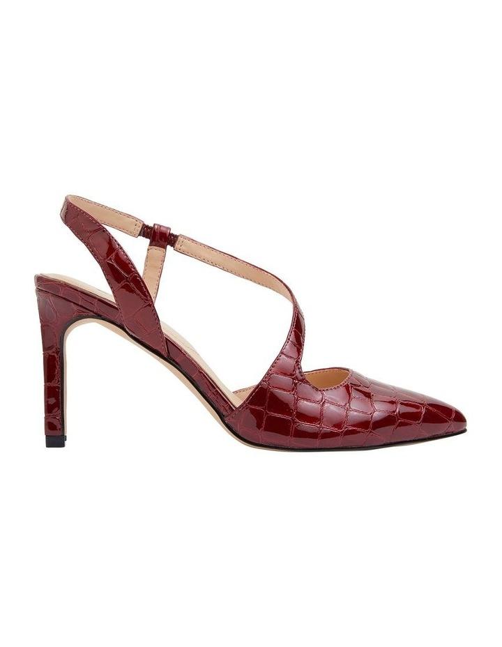 Odessa Burgundy Patent Croc Heeled Shoes image 1