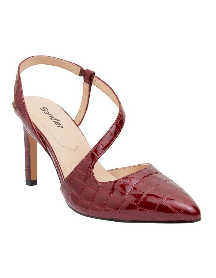 Odessa Burgundy Patent Croc Heeled Shoes image 2