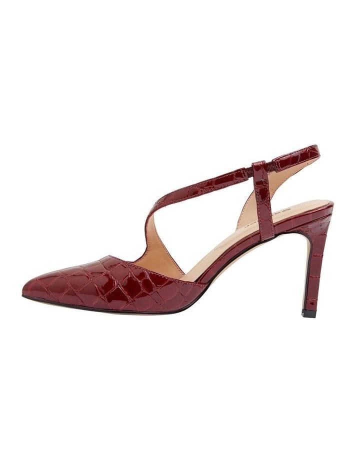 Odessa Burgundy Patent Croc Heeled Shoes image 3