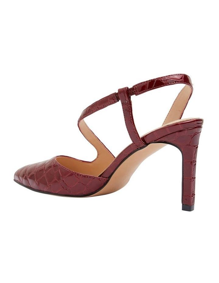 Odessa Burgundy Patent Croc Heeled Shoes image 4