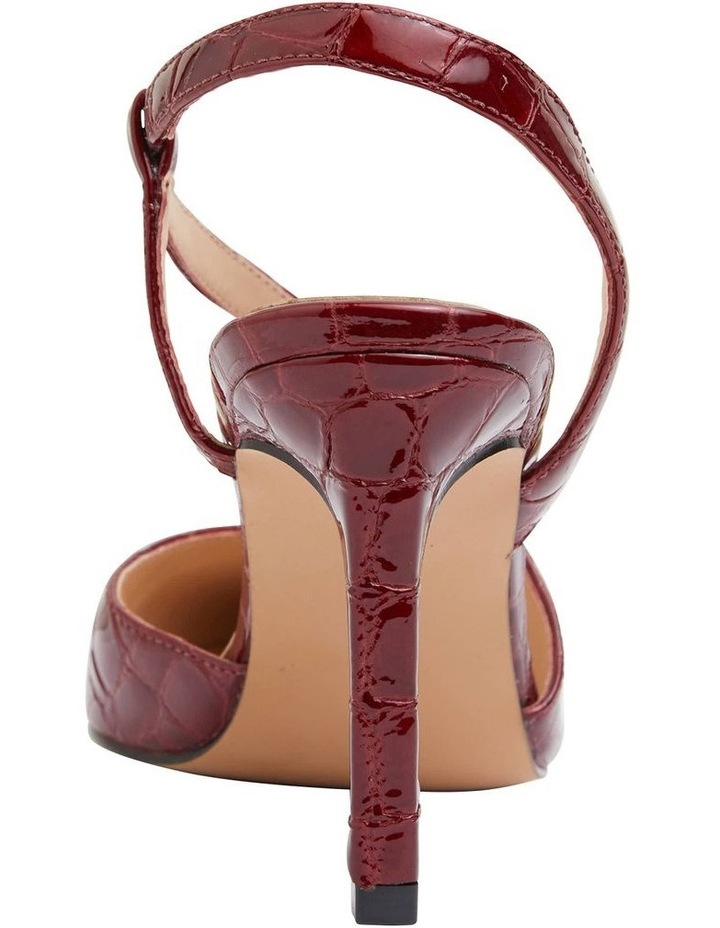 Odessa Burgundy Patent Croc Heeled Shoes image 6