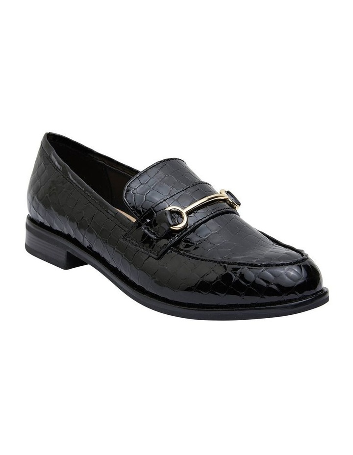 Paragon Black Patent Croc Flat Shoes image 2
