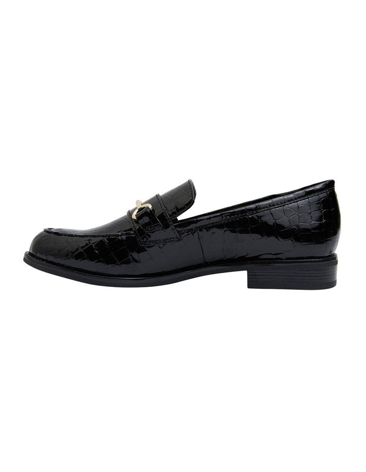 Paragon Black Patent Croc Flat Shoes image 3
