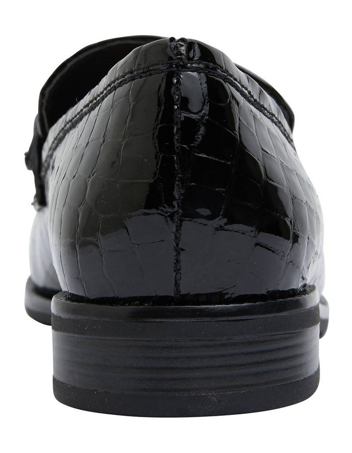 Paragon Black Patent Croc Flat Shoes image 6
