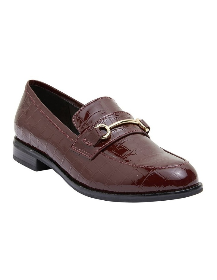 Paragon Burgundy Patent Croc Flat Shoes image 2
