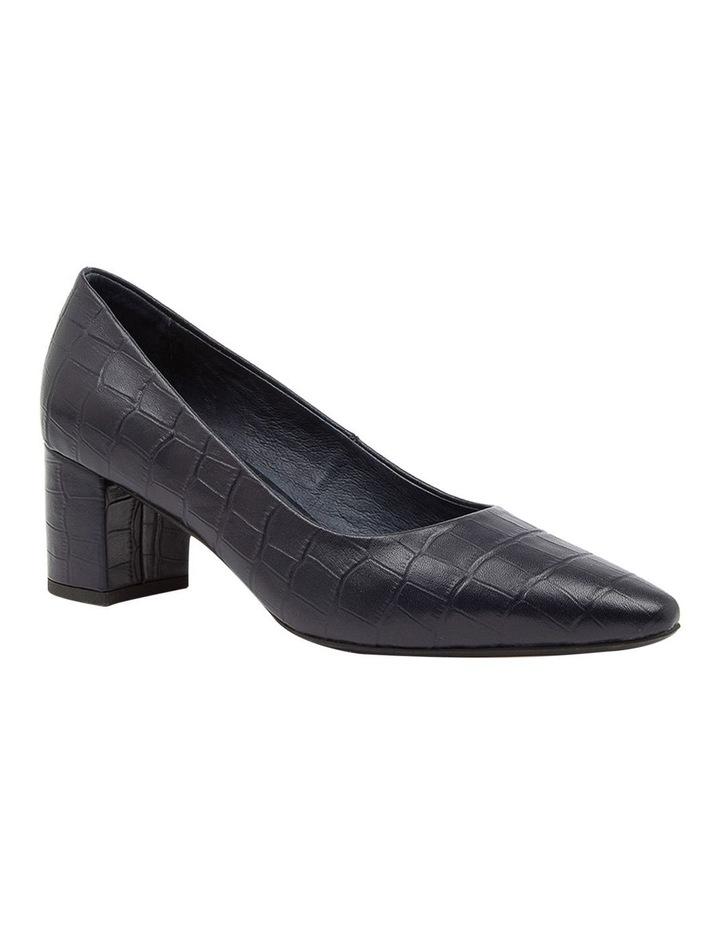Langer Navy Croc Heeled Shoes image 2