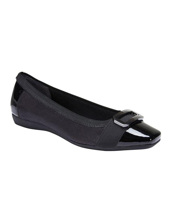 Tamsin Black Patent/Print Flat Shoes image 2