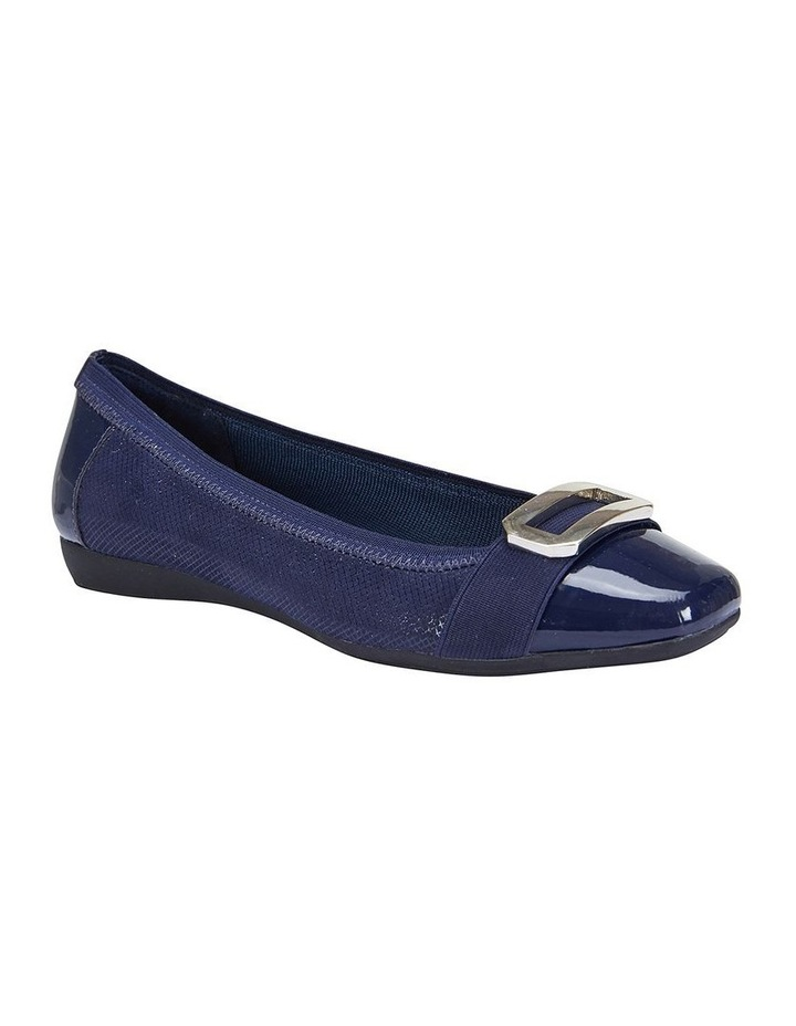 Tamsin Navy Patent/Print Flat Shoes image 2
