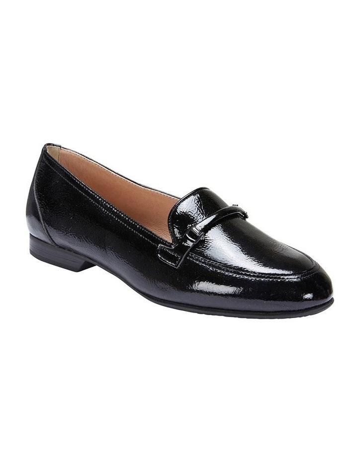 Glebe Black Crinkle Patent Flat Shoes image 2