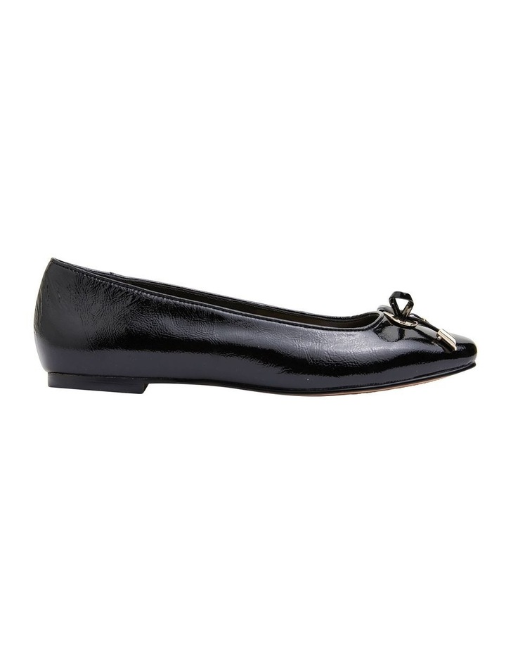 Tabbatha Black Crinkle Patent Flat Shoes image 1
