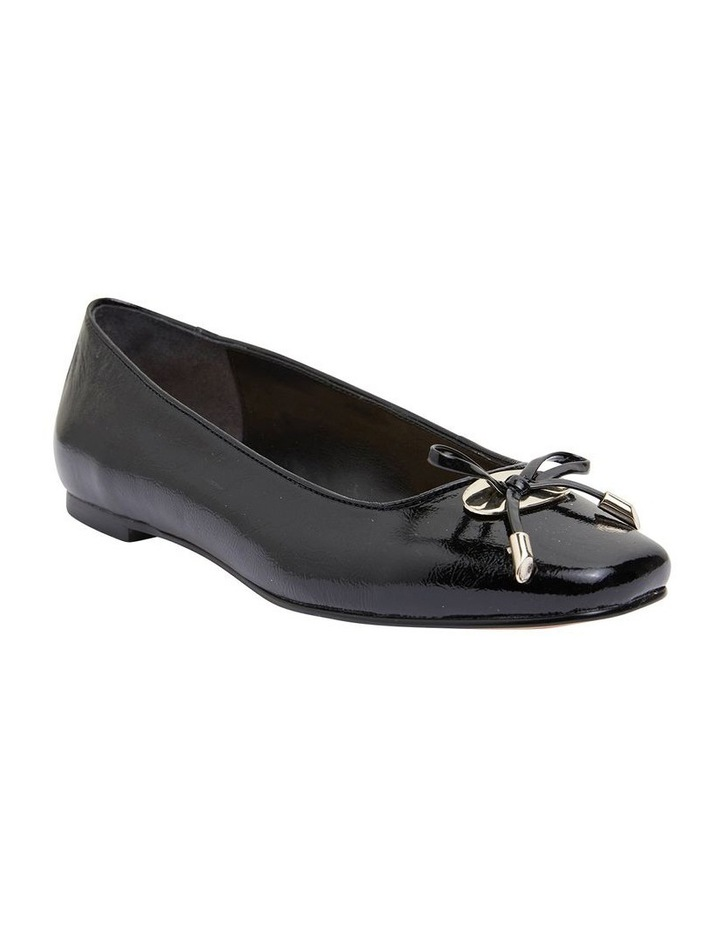 Tabbatha Black Crinkle Patent Flat Shoes image 2