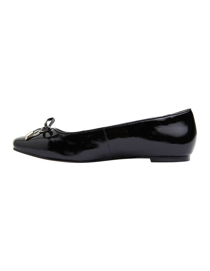 Tabbatha Black Crinkle Patent Flat Shoes image 3