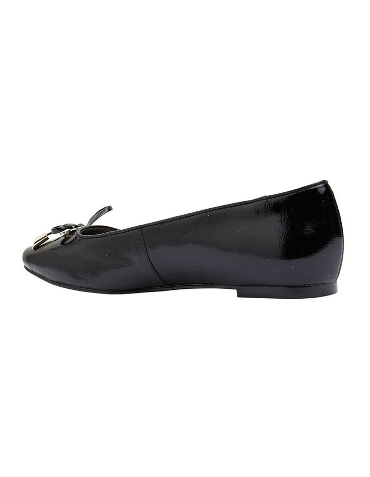 Tabbatha Black Crinkle Patent Flat Shoes image 4