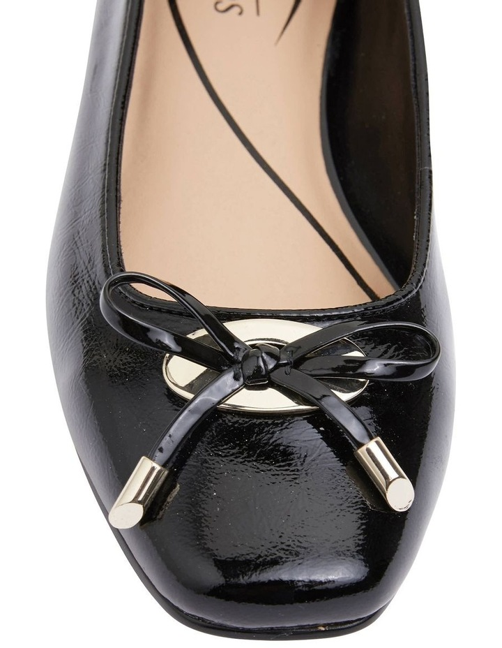 Tabbatha Black Crinkle Patent Flat Shoes image 5