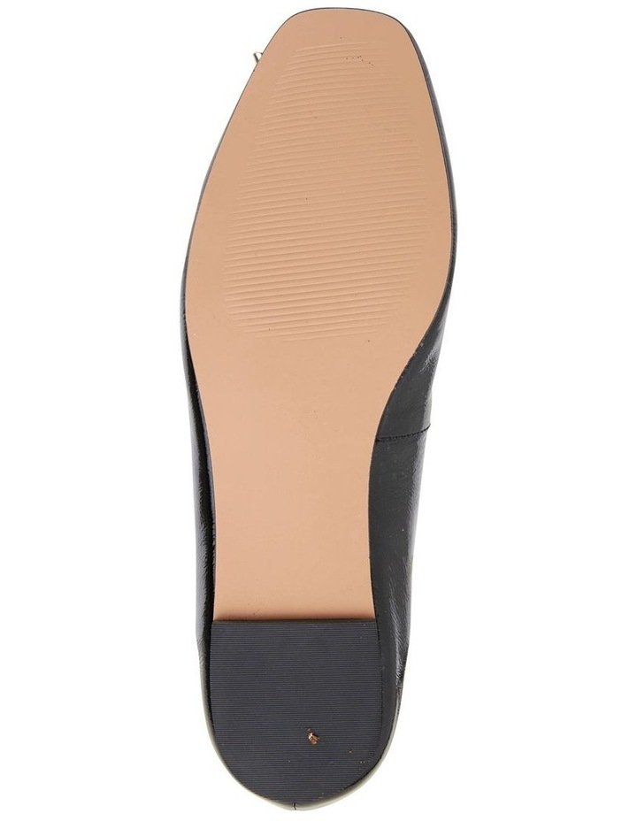 Tabbatha Black Crinkle Patent Flat Shoes image 7