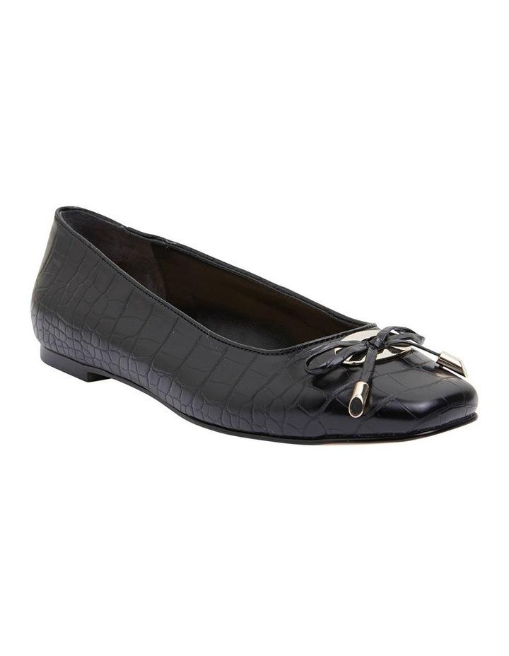 Tabbatha Black Croc Flat Shoes image 2