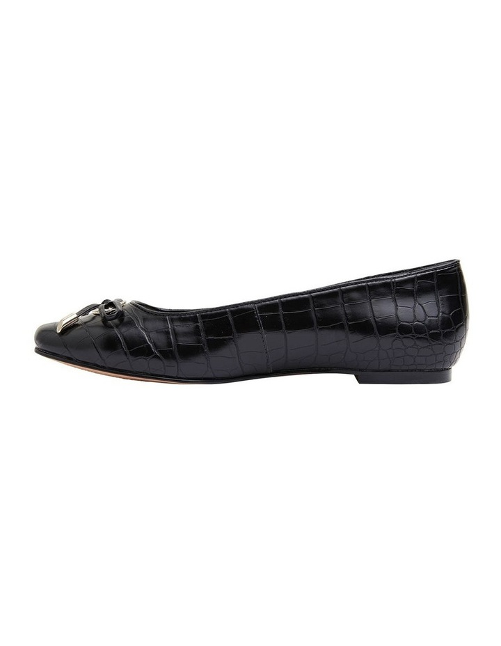 Tabbatha Black Croc Flat Shoes image 3