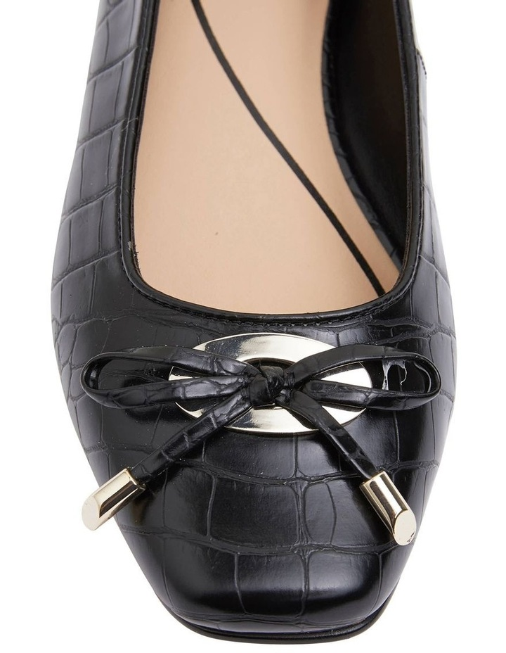 Tabbatha Black Croc Flat Shoes image 5