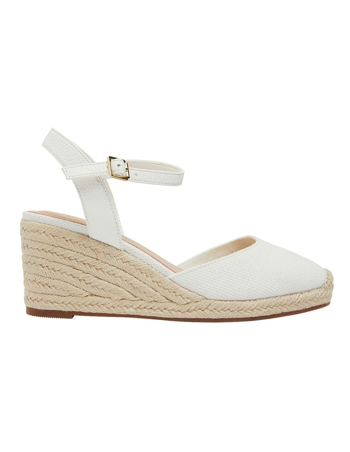 Santos White Fabric Wedge Sandals image 1