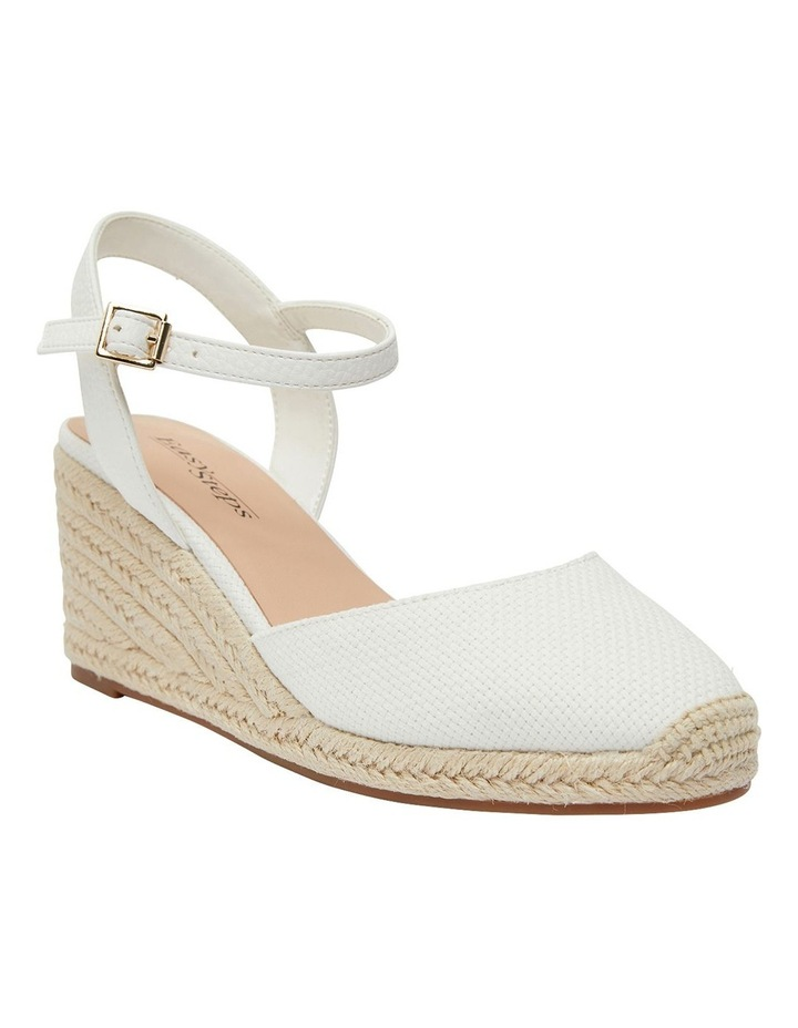Santos White Fabric Wedge Sandals image 2