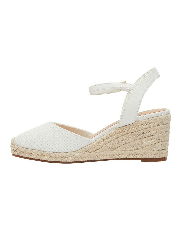 Santos White Fabric Wedge Sandals image 3