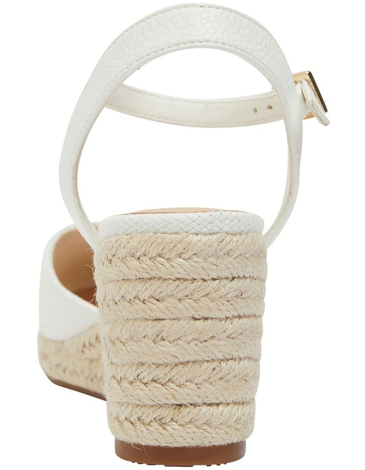 Santos White Fabric Wedge Sandals image 5