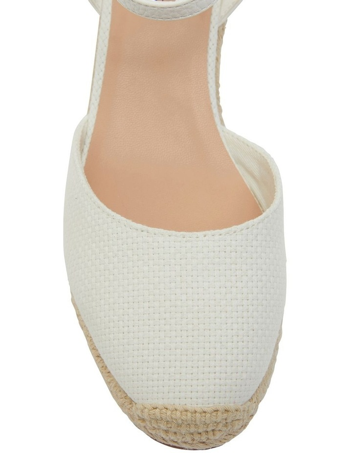 Santos White Fabric Wedge Sandals image 6