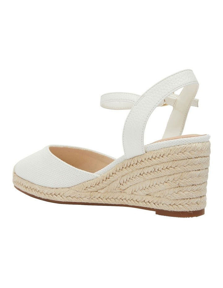 Santos White Fabric Wedge Sandals image 7