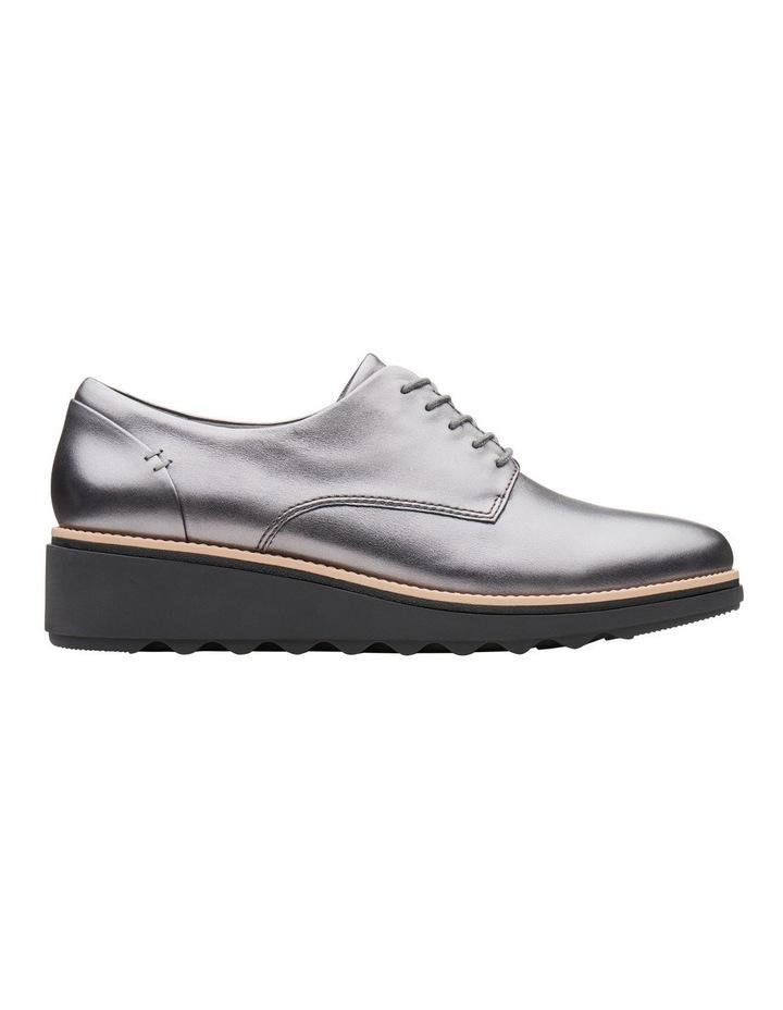 Clarks Sharon Noel Gunmetal Metallic Leather Flat Shoe image 1