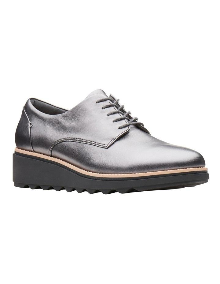 Clarks Sharon Noel Gunmetal Metallic Leather Flat Shoe image 2