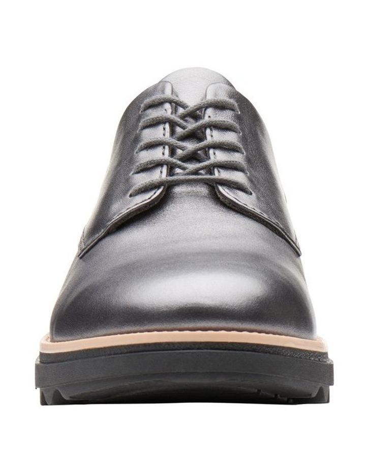 Clarks Sharon Noel Gunmetal Metallic Leather Flat Shoe image 3