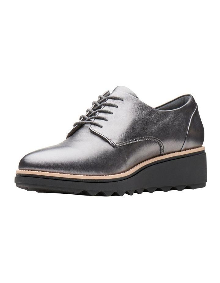 Clarks Sharon Noel Gunmetal Metallic Leather Flat Shoe image 4