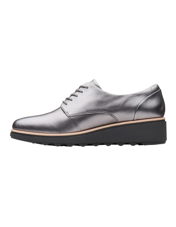Clarks Sharon Noel Gunmetal Metallic Leather Flat Shoe image 5